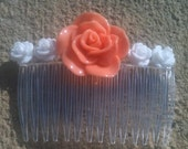 Coral Rose Hair Comb With Tiny White Roses (Weddings Hair Comb.. Flower Girl