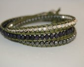 Olive Green 3 Wrap Bracelet with Silver Nuggets, Sandstone, and Hematite