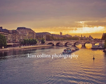 Sunset In Paris-Fine Art Photography, multiple sizes available-landscape-waterways-Sunset-France-Gift-Photography-