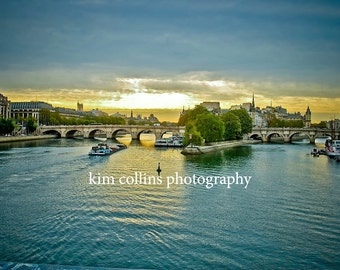 Sunset Blues on the Seine-Fine Art Photography,Paris France,multiple sizes available-landscape-waterways-Sunset-Paris-Gift-Photography