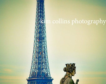 Eiffel Tower with Statue-Paris France,multiple sizes available-landscape-Eiffel Tower-Statues-Gift-Photograph
