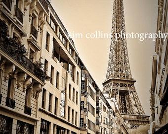 Eiffel Tower Sepia,Paris France 10x15, wall decor, gift, photograph,picture