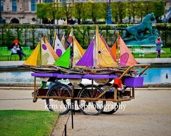 Sailboats at Jardins des Tuileries -Fine Art PhotographyParis France,multiple sizes available-landscape-Sailboats-Parisian-Gardens-Boats