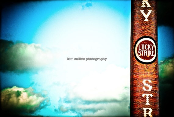 Lucky Strike Smokestack 2- Downtown Durham,North Carolina-American Tobacco-Blue-Clouds-Color-Multiple Sizes Available-Fine Art Photography