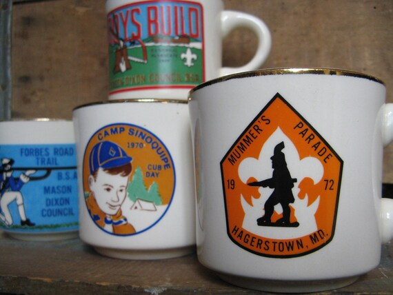 Vintage Boy Scouts of America Coffee Mugs, 1970's Collectable