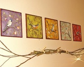 Set of birds nestled in branches fabric wall decoration art
