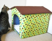 Portable foldable collapsible indoor fabric cat / dog / puppy house with removable cushion bed