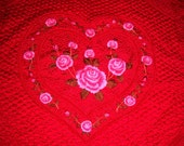 Amazing vintage quilt embroidered roses hearts and leaves fully quilted all over