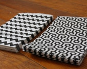 30 Medium Paper Bags - 15 Black Chevron 15 Black Honeycomb