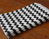 20 Medium Black Chevron Paper Bags