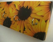 "Sunflower Key Rack and Jewelry Holder Yellow and Black Sunflowers, Summertime, Floral Pattern, Black Eyed Susan, Flower Petals, ""Sunflower"""