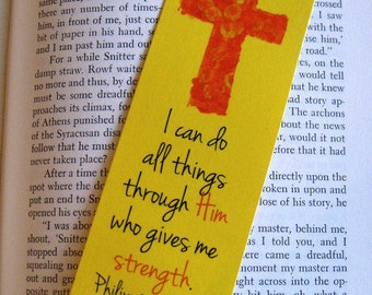 Church teacher etsy cross bookmark red and yellow philipians 413 multiple available sunday negle Gallery