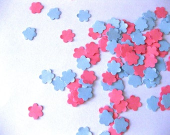 Mini Flower Confetti Light Blue and Pink Flower Punch Outs - Set of 100