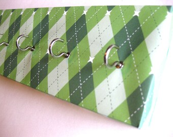 "Jewelry Holder and Key Rack Green Argyle Argyle Pattern White and Green Argyle Key Rack Organizer Organization Diamonds ""Green Argyle"""