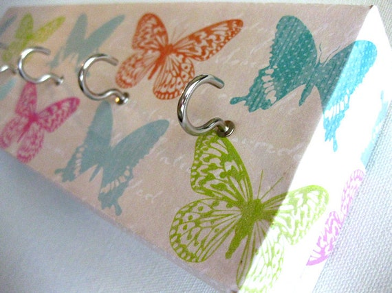 "Jewelry Holder and Key Rack  - ""Butterfly"" - Colorful butterflies, glitter accents, Pink, Orange, Blue, Green (5 nickel hooks)"
