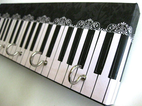 "Jewelry Holder and Key Rack  - ""Piano"" - Black and White Piano, Musical Instrument, Ebony and Ivory, Lacy Detail (5 nickel hooks)"