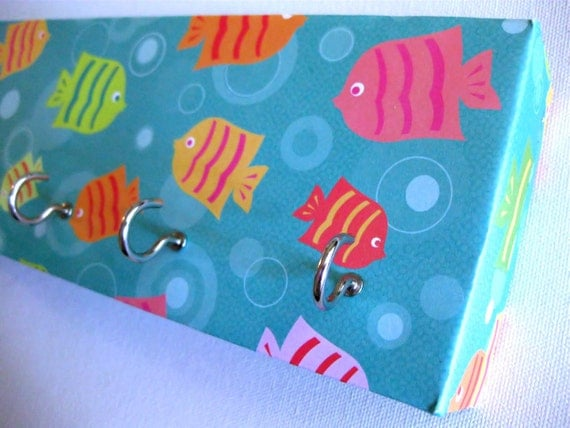 """Jewelry Holder and Key Rack  - """"Fish in the Sea"""" Blue Background with Bubbles, Colorful Fish Swimming Around (5 nickel hooks)"""