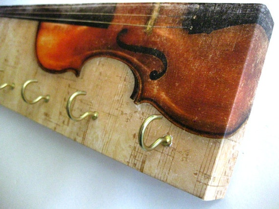 "Key Rack and Jewelry Holder  - ""Violin"" -  Viola, Musical Instrument, Rustic, Natural, Distressed, Brown, Sandy, Cream, Black, Red"