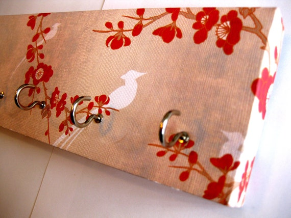 """Jewelry Holder and Key Rack  - """"Bird Blossom"""" - White Bird with Red Cherry Blossoms (5 nickel hooks)"""