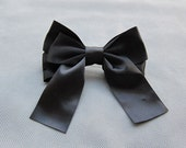 Big Classic Black Hair Bow Clip/Barrette - 4.5 inches/11.5cm - made with 1.5 inches/3.8cm Satin Ribbon