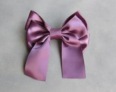 Big Classic Purple Hair Bow Clip Barrette - 4.7 inches/12cm - made with 1.5 inches/3.8cm Satin Ribbon