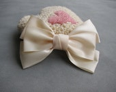 Extra Large Classic Ivory Hair Bow Clip - 5.7 inches/14.5cm - Made with 2 inches/5cm Satin Ribbon