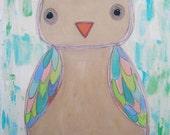 "Original Painting for Children's Room ""TALULAH"" OWL Acrylic on Canvas 16X20 modern kids nursery wall art"