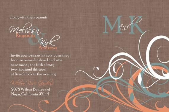 Wedding Invitations Turquoise: Items Similar To Custom Orange And Turquoise Flourish