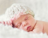 Knitted Baby Girl Hat, Photo Prop