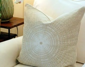 F. Schumacher  - Sundial - Flax White Beige - 20 Inch Pillow Cover - Modern Geometric Neutral Linen Pillow Covers Cases
