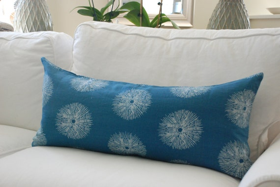 "SALE - Kelly Wearstler, Groundworks, ""Sea Urchin"" - Decorative Pillow Cover 15"" x 32"" Bolster - Blue and white - Beachy, Coastal, Graphic"