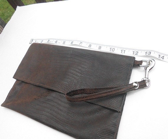 Brown Faux Suede Crocodile Print Wristlet