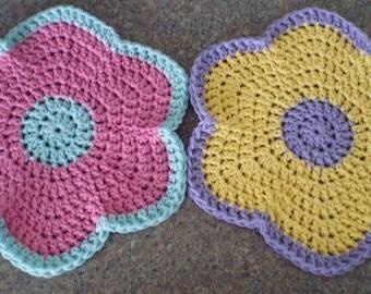 Round Dishcloths, Crochet Dishcloth, Crochet Flower Dishcloths, Cotton Dishcloths, Dishcloths, Crochet Washcloth, Round Washcloth, Washcloth