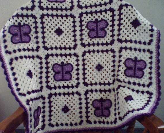 Items Similar To Crochet Butterfly Afghan Granny Square