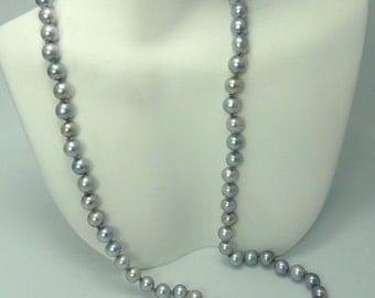 5mm Grey & Silver Akoya Pearl Necklace