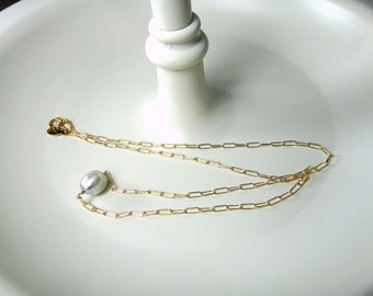 Cute Little Light Grey, Baroque Tahitian Pearl Necklace on 14k Gold Filled Chain