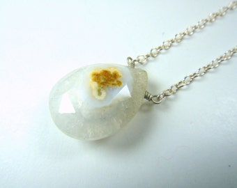 Cute White and Orange Faceted Agate Necklace, Sterling Silver