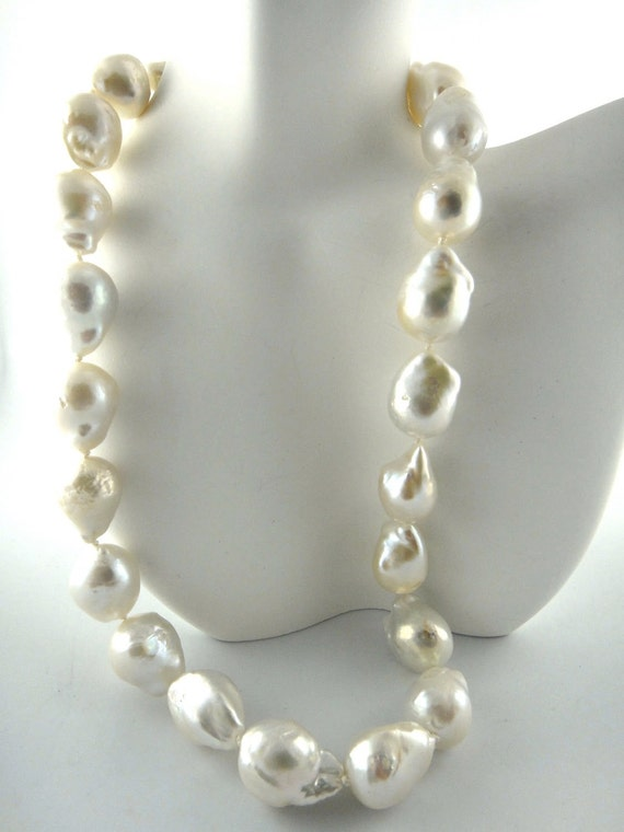 Huge Baroque  White Pearl Statement Necklace