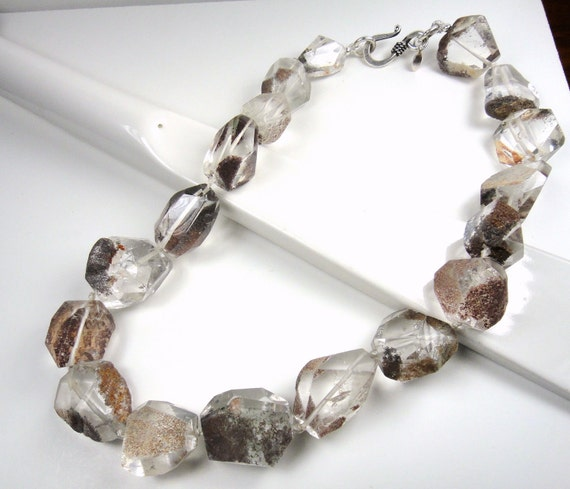 Huge, Chunky Clear Quartz with Matrix Statement Necklace, Extra Large