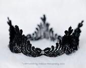 Lace Crown, Photo Prop,  Princess Crown, Black Lace Tiara, Black Lace Halo, LAST ONE