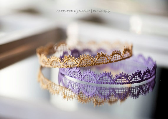 Mini Lace Crown, Newborn Photo Prop, Prince or Princess Tiara, Baby Girl Lace Halo, PURPLE Lace Crown, Newborn Size