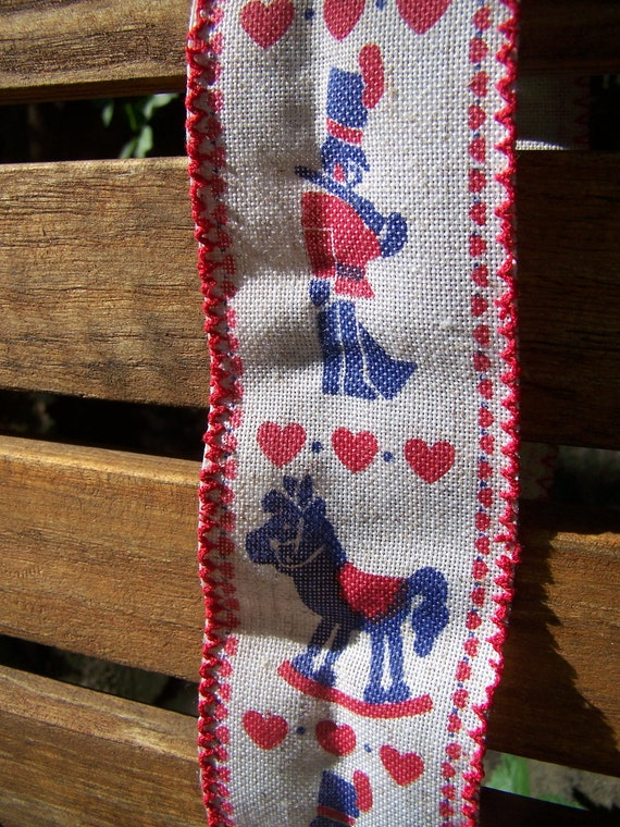 "8 yards 2 1/5"" vintage ribbon spool hearts, toy soldiers, and rocking horses, red white and blue"