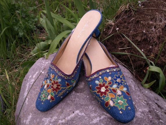 Summer Denim embellished embroidery,sequence,shoes, Lovely colour NOS, elegant heels Slip on women size 8m