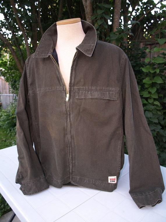 Vintage Work King Jacket Size stated L, Broken in great mid green work jacket with additional zipper to add your fleece jacket or down vest