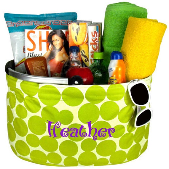 Lime Green Polka Dot Game Day Beach Pool Market Tote Personalized Monogrammed Back To School Gift