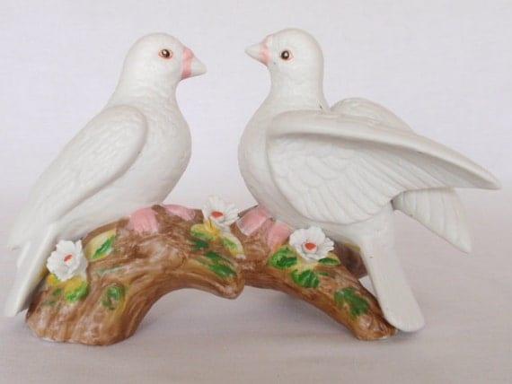 Bird Figurine Vintage Love Birds Doves Branch Ceramic Wedding