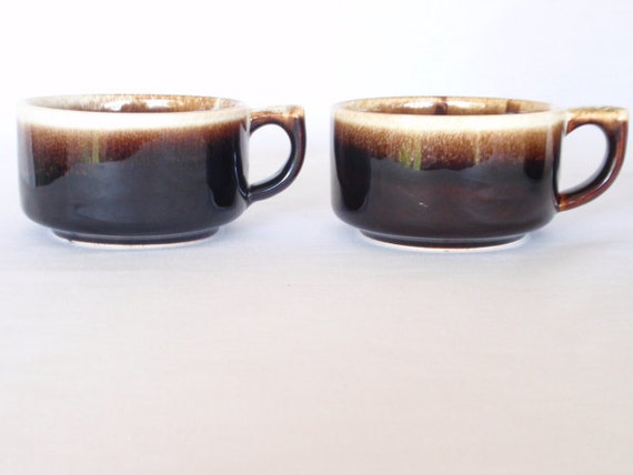 Reserved for TheGildedSwan Pfaltzgraff BROWN DRIP Cups 6 Replacement Dishes