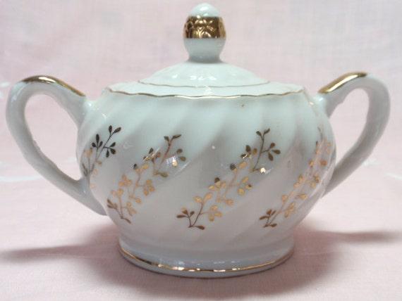 SALE Sugar Bowl Vintage Japan Gold White Floral