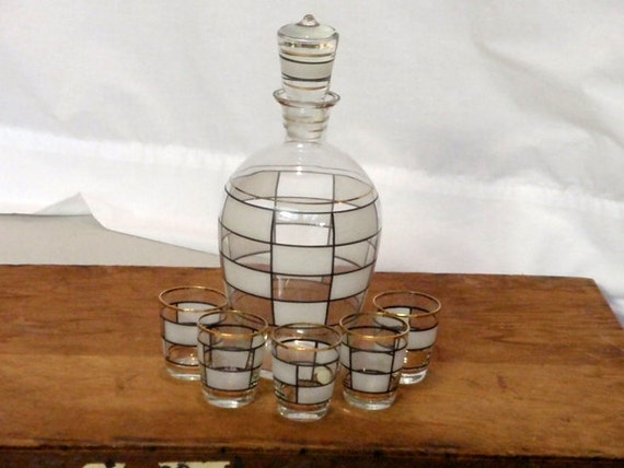 Vintage Whiskey Decanter Mid Century POLAND Five Shot Glasses Black White Gold Bar Ware