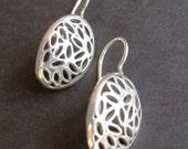 Silver earring drop sterling silver dangling openwork earrings